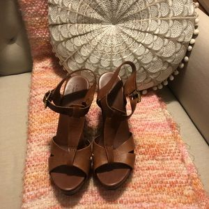 Kurt Geiger Leather and Wood wedges